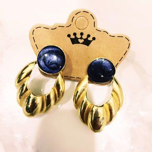 Gold Tone and Blue 80s Style Earrings
